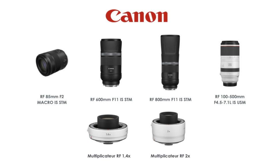 Canon dévoile 4 nouveaux objectifs RF et 2 multiplicateurs de focale. © DR