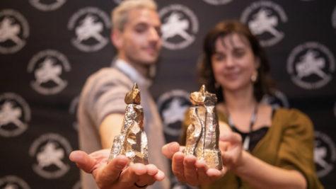 Les réalisateurs Jorge Cantos et Soetkin Verstegen, grand prix et prix spécial labo, et leurs Vercingétorix © SQPCLM - Baptiste Chanat